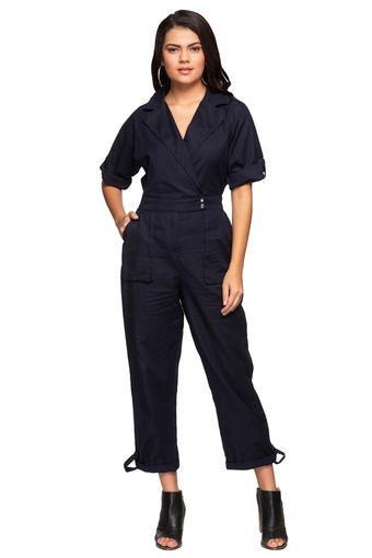 Womens Notched Lapel Collar Solid Jumpsuit