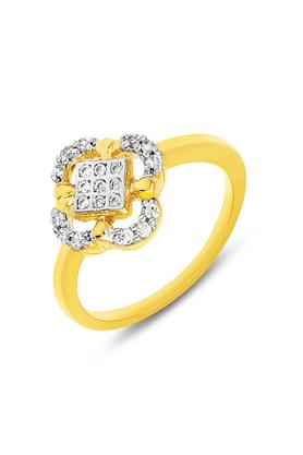 MAHIMahi Gold Plated Elegant Flower Fingering With CZ For Women FR1100108G