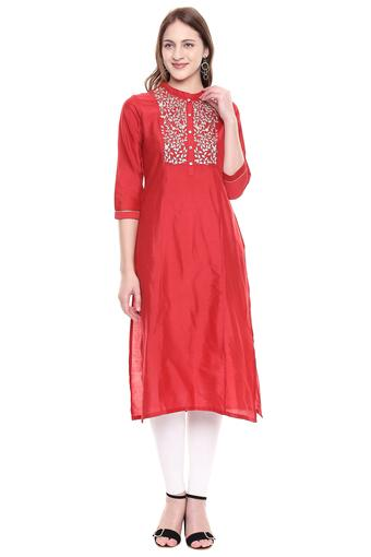 Womens Mandarin Collar Slub Zari Embroidered Kurta