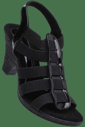 CATWALKWomens Black Slipon Heel Sandal