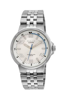 Mens Omax Masterpiece White Dial Stainless Steel Analogue Watch - FA9-SS444