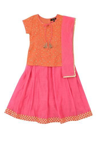 Girls Tie Up Neck Sequined Ghaghra Choli and Dupatta Set