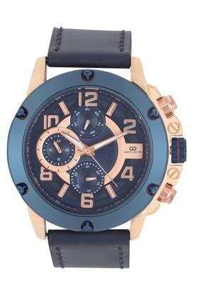 Mens Blue Dial Leather Multi-Function Watch