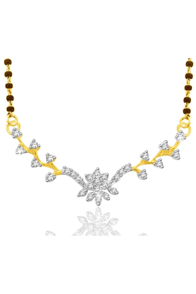 SPARKLES 18Kt Gold Mangalsutra With Diamond Pendant Along With Gold Plated Silver Chain And Black - 7499797