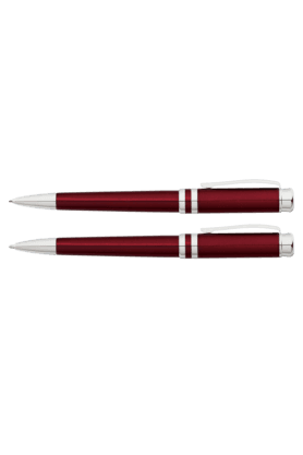 FRANKLIN COVEY Red/Chrome Ballpoint & .9mm Pencil Set