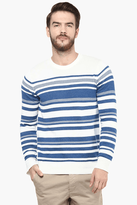 CELIO Mens Full Sleeves Round Neck Straight Fit Stripe Sweater - 201378995