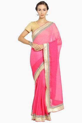 Womens Georgette Solid Saree With Blouse Piece - 202531433