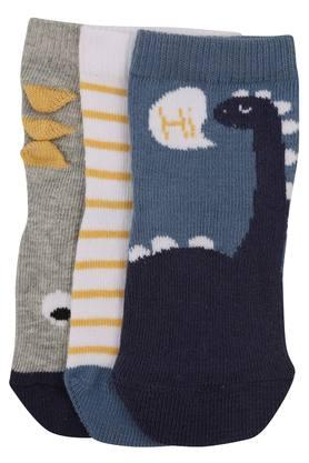 Boys Dinosaur Print and Striped Socks - Pack of 3