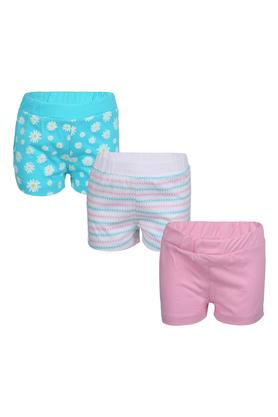Girls Floral Print Printed and Solid Shorts - Pack of 3