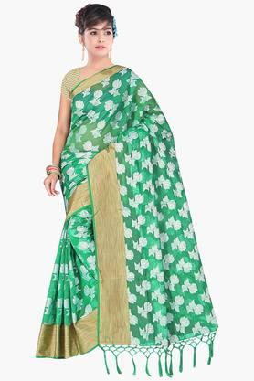 Women Poly Cotton All Over Buti With Zari Border Saree - 202446932