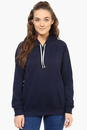 PURYS Womens Hooded Solid Sweatshirt