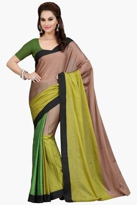 ISHIN Womens Colour Block Poly Silk Saree