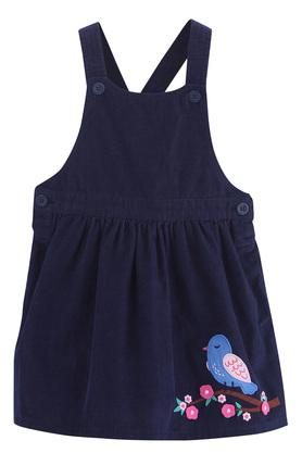 Girls Strappy Neck Solid Embroidered Pinafore Dress