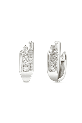 MAHI Mahi Rhodium Plated Unique Elegance Huggies Hoops Earrings With CZ For Women ER1100944R