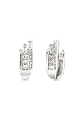 MAHIMahi Rhodium Plated Unique Elegance Huggies Hoops Earrings With CZ For Women ER1100944R