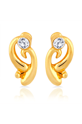MAHI Mahi Gold Plated Curvy Delight Stud Earrings With Crystal For Women ER1109280G