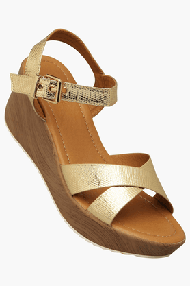 TRESMODE Womens Party Wear Ankle Buckle Closure Wedge Sandal