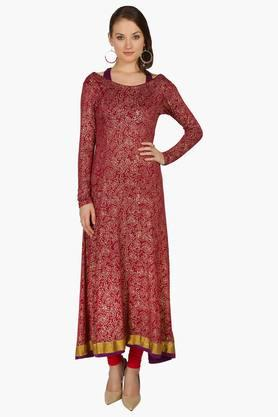 IRA SOLEIL Womens Printed Anarkali Kurta With Inner (Buy Any Ira Soleil Product And Get A Necklace Free)