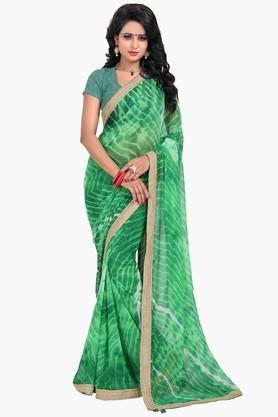 Women Chiffon Leheriya With Lace Printed Saree