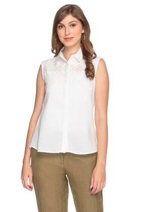 Womens Collared Embroidered Lace Yoke Shirt