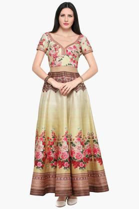 Womens Semi Stitched Printed Embellished Lehenga Choli