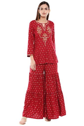 GLOBAL DESI -  Maroon Salwar & Churidar Suits - Main