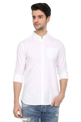 Mens Button Down Collar Solid Casual Shirt