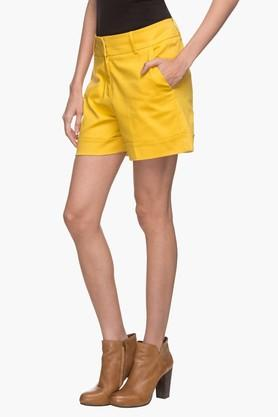 Womens 4 Pocket Solid Shorts