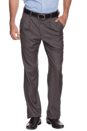 LOUIS PHILIPPEMens Pleated Front Regular Fit Solid Trouser
