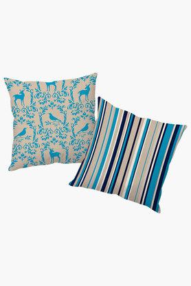 Bird And Stripe Polyester Cushion Cover