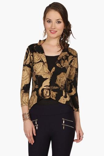 Womens Slim Fit Printed Jacket