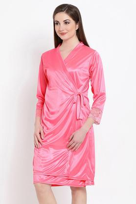 Set Of 2 Pc Satin Nightwear-Nighty And Robe