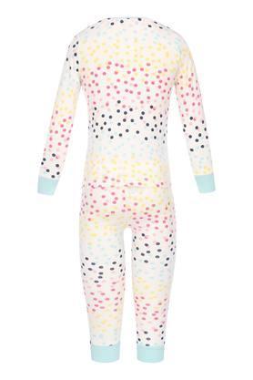 Girls Round Neck Dot Pattern Top and Pants Set