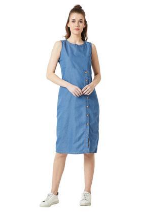 Womens Round Neck Slub Cut-Out Midi Dress