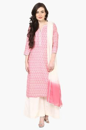 Women Poly Cotton Straight Suit Set