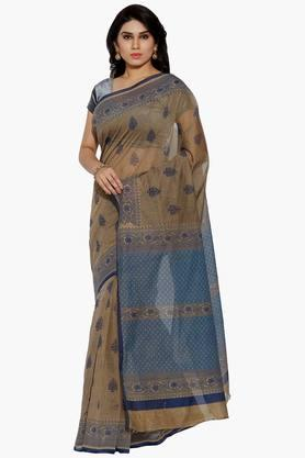 JASHN Women Leaf Motif Print Cotton Saree