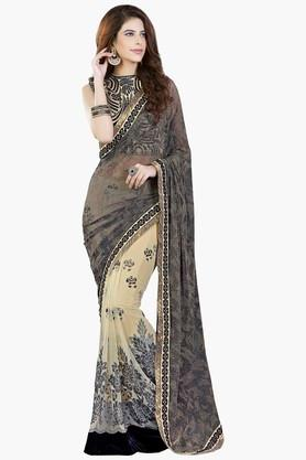 MAHOTSAV Womens Colour Block Shimmer Net Saree