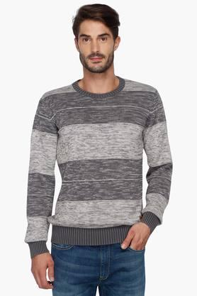 LOUIS PHILIPPE JEANS Mens Stripe Round Neck Sweater