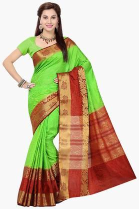 ISHIN Womens Tussar Silk Self Printed Saree