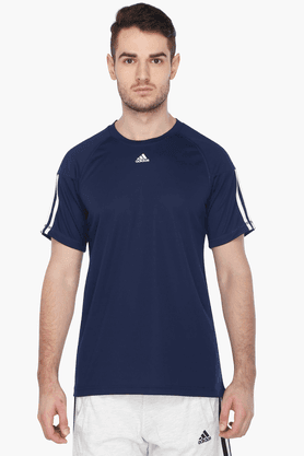 ADIDAS Mens Short Sleeves Crew Neck Solid T-Shirt