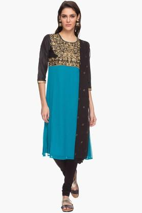 IMARA Womens Embroidered Churidar Kurta And Dupatta Set