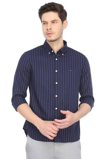 Mens Button Down Collar Stripes Shirt