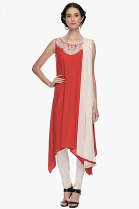 Womens Round Neck Solid Mirror Work Churidar Suit