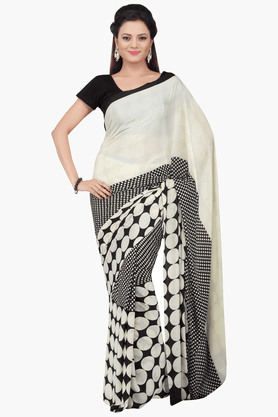 JASHN Womens Printed Saree With Blouse Piece - 201313136