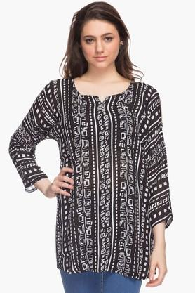 STOP Womens Square Neck Cold Shoulder Sleeves Printed Kurta