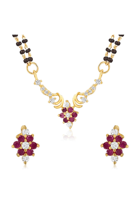 MAHI Mahi Gold Plated Alliance Mangalsutra Set With CZ & Ruby For Women NL1103519G2