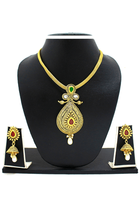 ZAVERI PEARLS Traditional Nakashi Pendant Jewel Set - ZPFK3288