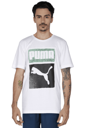 PUMA Mens Round Neck Short Sleeve Solid T-Shirt