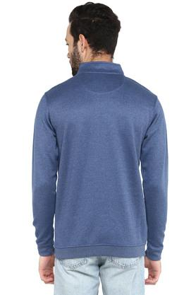 Mens Zip Through Neck Solid Sweatshirt
