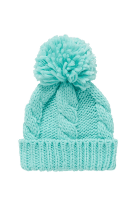 MOTHERCARE Girls Aqua Cable Knit Beanie Hat